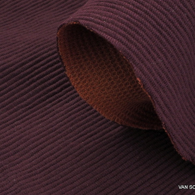Stretch cotton piqué rib  in burgundy-orange