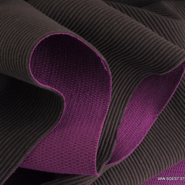Stretch cotton piqué rib  in oliv-cyclamin