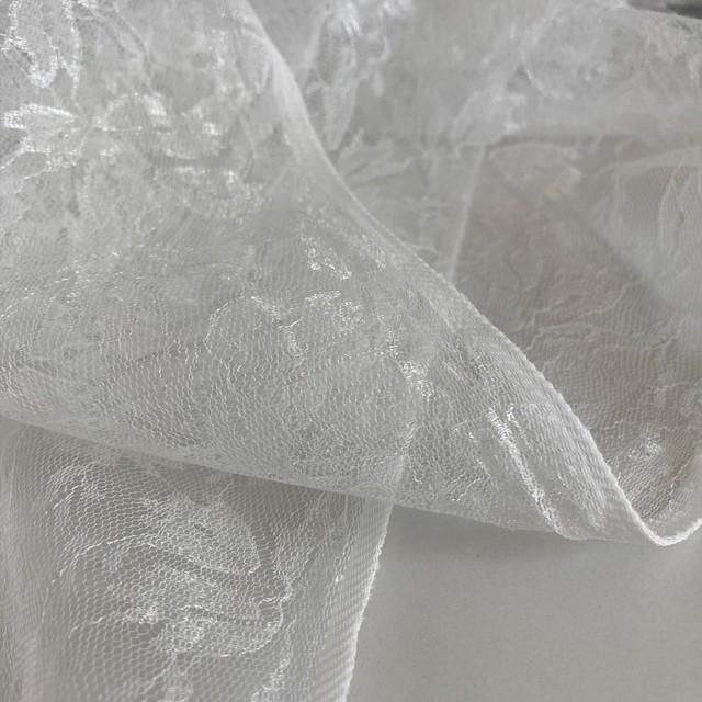 leaf jacquard 100% nylon tulle non-stretch in pure white