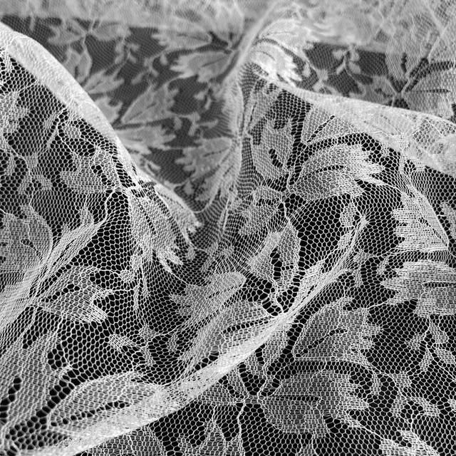 Blätterjaquard 100% Nylon Tüll Non Stretch in rein Weiss | Ansicht: Blätterjaquard 100% Nylon Tüll Non Stretch in rein Weiss
