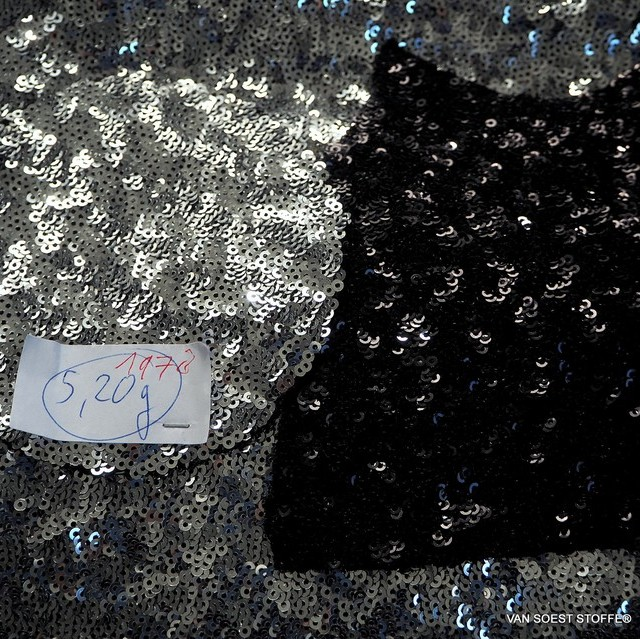 Opaque shiny mini sequins in silver on black stretch jersey | View: Opaque shiny mini sequins in silver on black stretch jersey