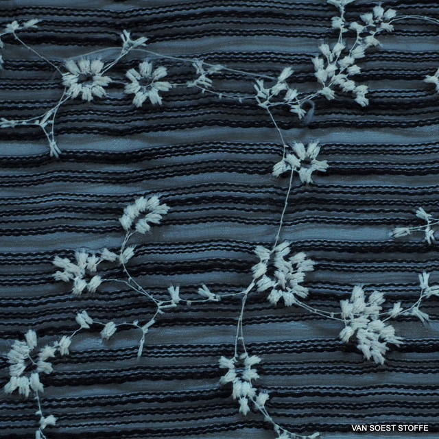 Mini flower embroidery on striped organza in deep black