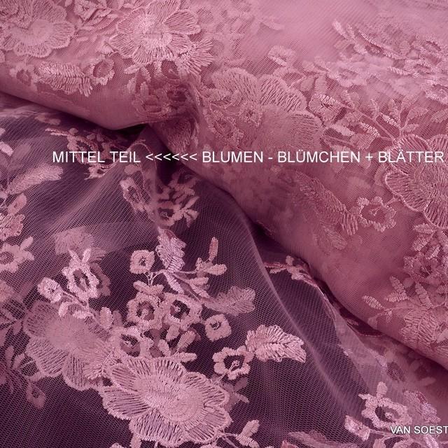 Blumen Bogenspitze Rosa Pink Auf Rosa Farbiger Tull Bestickte