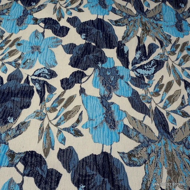 Flower Denim bark jacquard