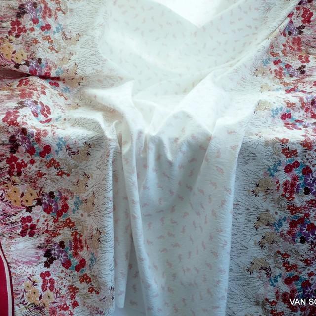 Blumenbordüre auf Jaquard gewebtem Stoff | Ansicht: umenbordüre auf Jaquard gewebtem Stoff
