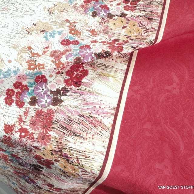 Flower border on Jaquard woven fabric