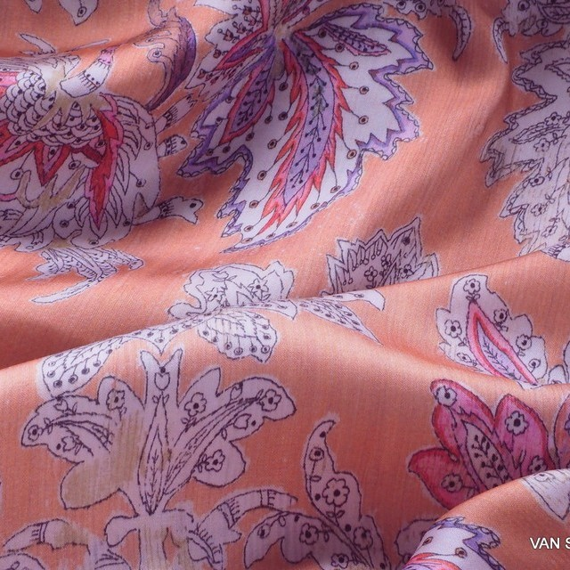Flower fantasy on salmon viscose with bark effect. | View: Flower fantasy on salmon viscose with bark effect.