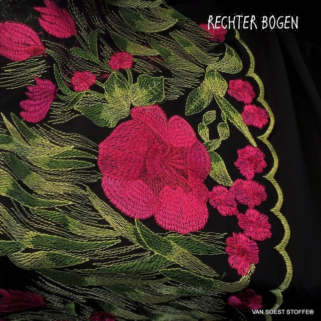 Bordüren Blumen Stickerei in Pink-Magenta | Ansicht: Rosen Stickerei in Pink-Magenta