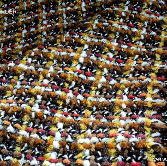 Bouclé-Tweed in Schwarz/Weiß/Gold/Braun | Ansicht: Bouclé-Tweed in Schwarz/Weiß/Gold/Braun