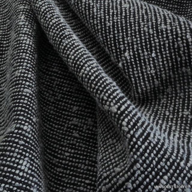 Bouclé Tweed in Schwarz - Weiß mit Lurex