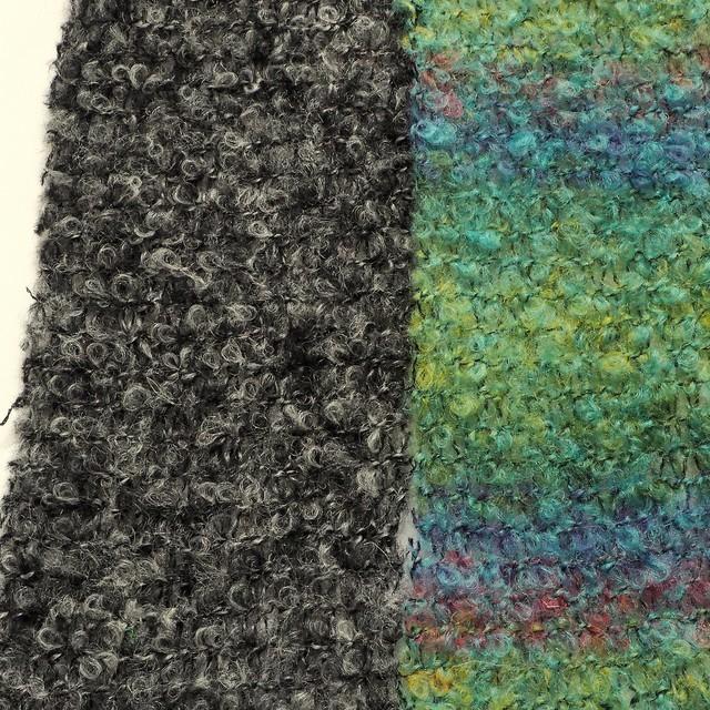 Bouclé Wolle - Seide in Aqua-Grün-Blau-Rot | Ansicht: Bouclé Wolle - Seide in Aqua-Grün-Blau