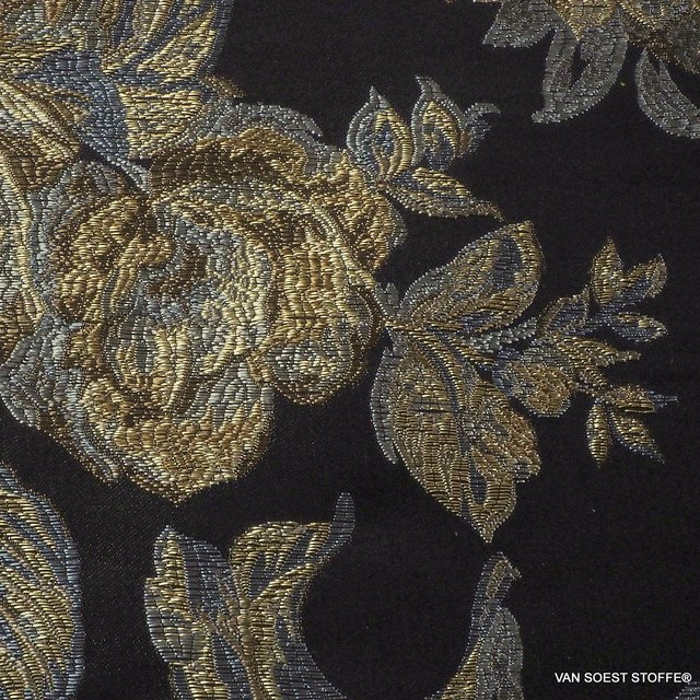 Brokat Jacquard in Platin-Gold-Silber Optik