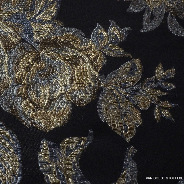 Brokat Jacquard in Platin-Gold-Silber Optik | Ansicht: Brokat Jacquard in Platin-Gold-Silber Optik