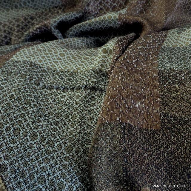 Bronze Geometrie auf 100% Viskose Twill   Ansicht: Bronze Geometrie auf 100% Viskose Twill