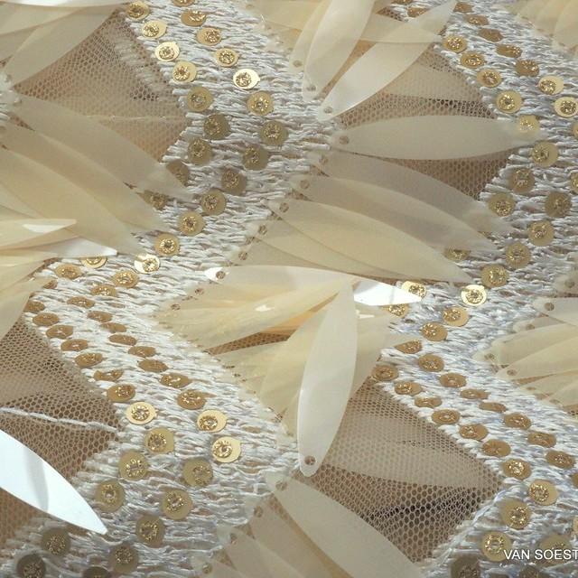 Bühnen Längs Pailletten Outfit in Haut - Gold auf Hautfarbigen Tüll. | Ansicht: Bühnen Längs Pailletten Outfit in Haut - Gold auf Hautfarbigen Tüll.