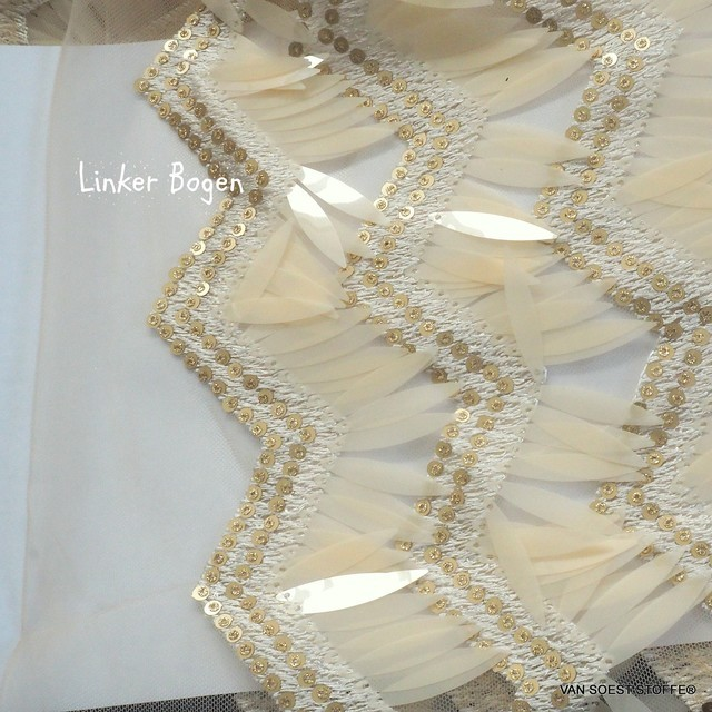 Stage Long Sequins Outfit in Skin - Gold on Nude Tulle. | View: Stage Long Sequins Outfit in Skin - Gold on Nude Tulle.