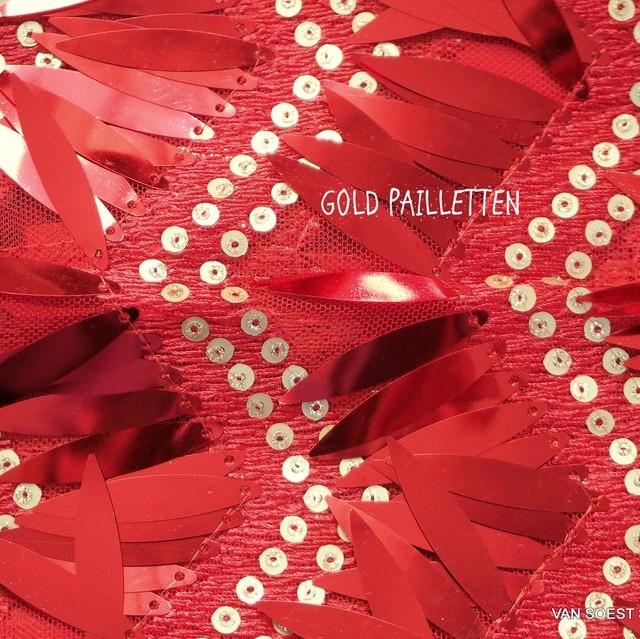 Bühnen Längs Pailletten Outfit in Scharlach Rot - Gold auf Rotem Tüll. | Ansicht: Bühnen Längs Pailletten Outfit in Rot - Gold auf Rotem Tüll.