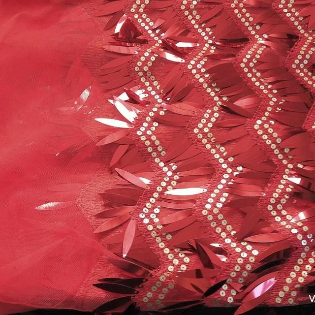 Bühnen Längs Pailletten Outfit in Scharlach Rot - Gold auf Rotem Tüll. | Ansicht: Bühnen Längs Pailletten Outfit in Scharlach Rot - Gold auf Rotem Tüll.