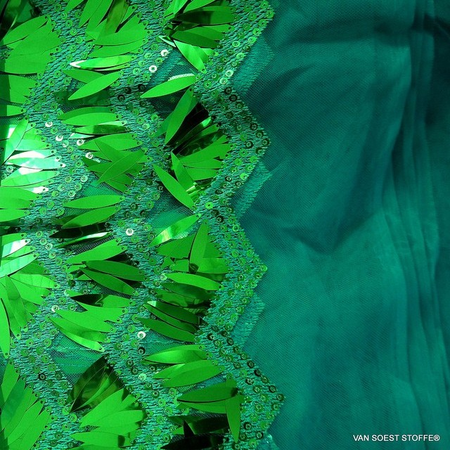 Stage Long Sequined Outfit in Emerald Green on tone in tone green tulle | View: Stage Long Sequined Outfit in Emerald Green on tone in tone green tulle