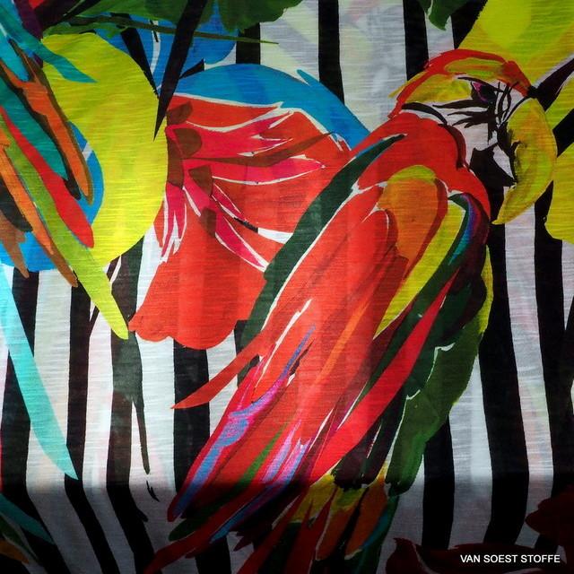 Burda style -100% Viskose Slub Jersey Papageien Sommer Print