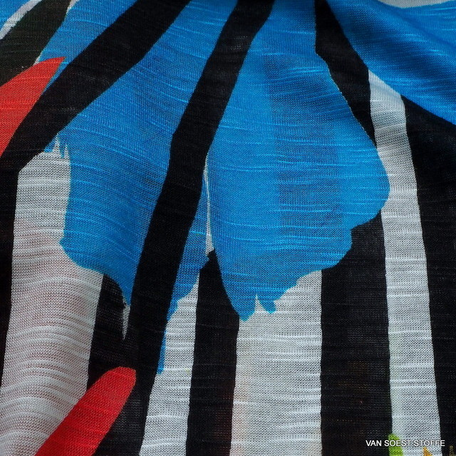 Burda style -100% Viskose Slub Jersey Papageien Sommer Print | Ansicht: Burda style -100% Viskose Slub Jersey Papageien Sommer Print