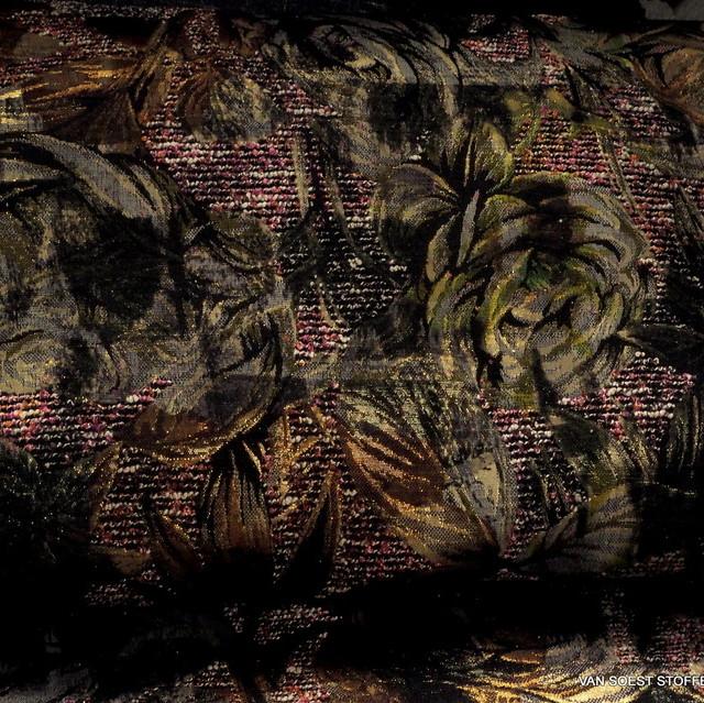 Burda style Gold Fäden Bouclé Blätter Jacquard   Ansicht: Burda style Gold Fäden Bouclé Blätter Jacquard