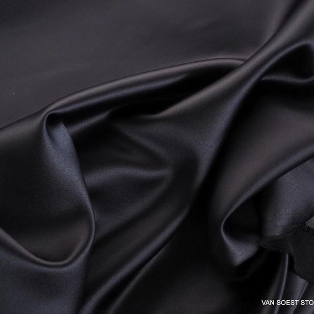Burda style deep black satin stretch | View: Burda style black satin stretch