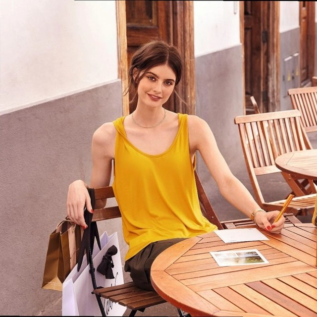 Burda style shirt, top, tunic, tank in soft viscose fine jersey in saffron | View: Burda style shirt, top, tunic, tank in soft viscose fine jersey in saffron