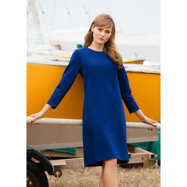 Burda style Viskose Blend Romanit Stretch in tollem Royal Blau.