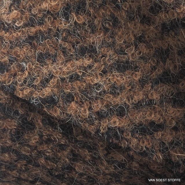Burda style Woll Bouclé in dunkelbrauner melange Optik