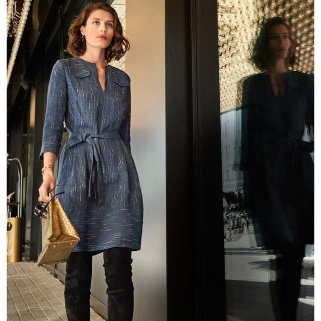 Burda style hochwertiger Leinen Fantasie Streifen in Jeans Optik