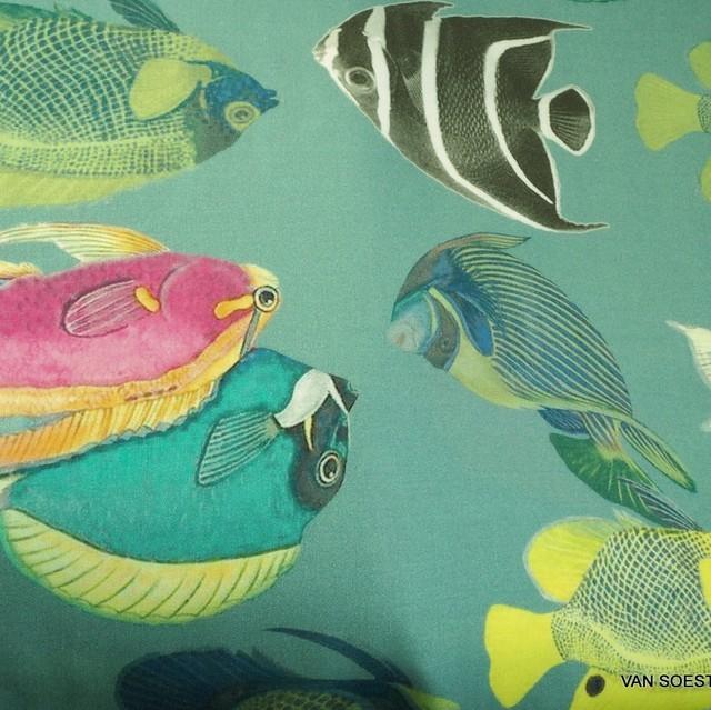 Burda style tropische Fische auf 100% Viskose weich Satin | Ansicht: Burda style tropische Fische auf 100% Viskose weich Satin
