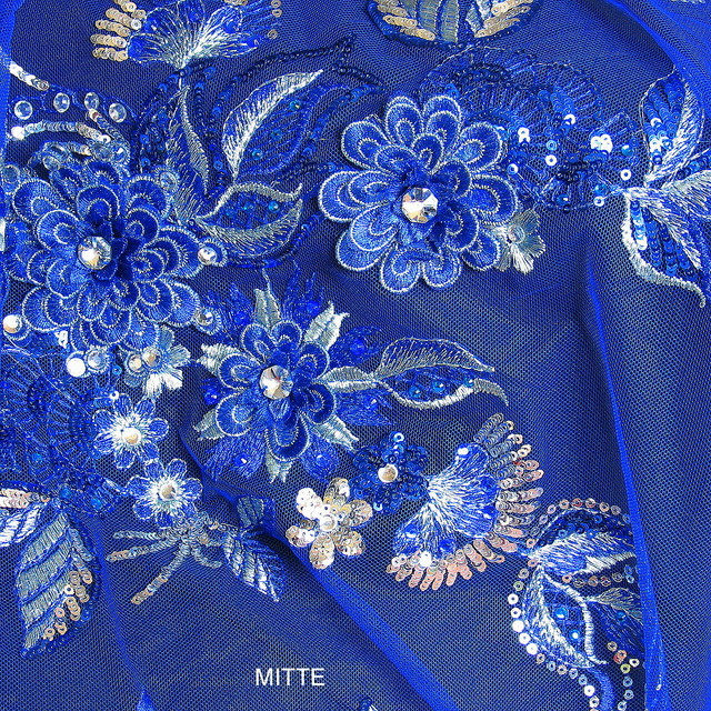 Rhinestone couture embroidery in Royal Bleu
