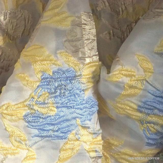 Couture 3D Blumen Organza Jacquard in Vanille - Gold - Bleu