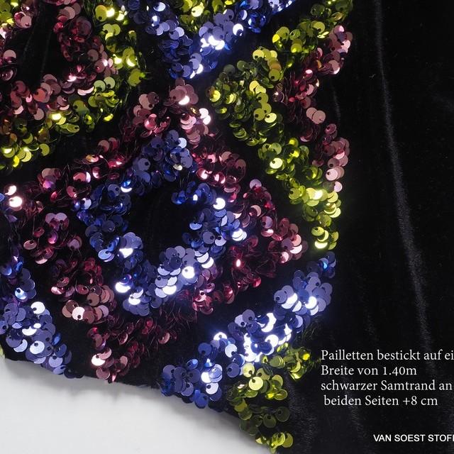 Couture 3D Pailletten Rauten - Grün Blau Rosa - auf schwarzem High Stretch Samt | Ansicht: Couture 3D Pailletten Rauten - Grün Blau Rosa - auf schwarzem High Stretch Samt