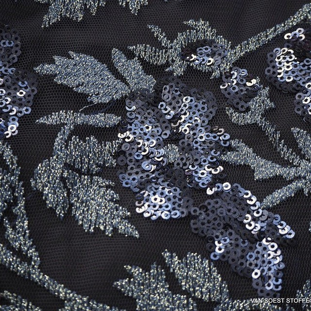 Couture floral lace with tone in tone mini sequins in navy