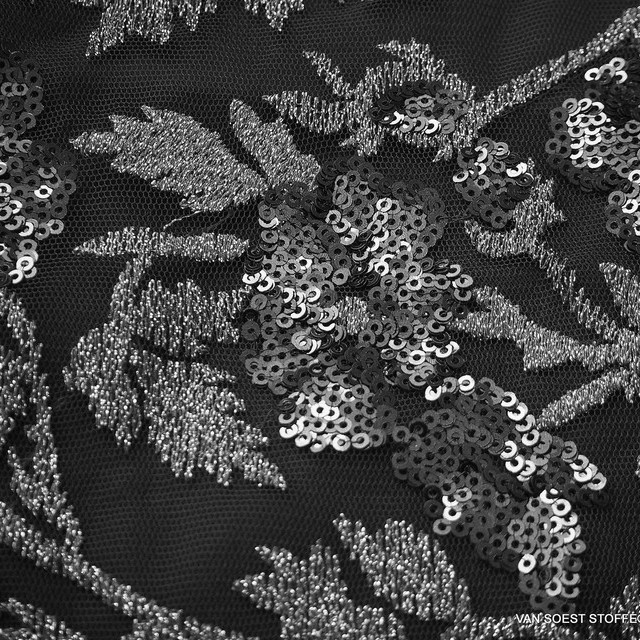 Couture floral lace with tone in tone mini sequins in black | View: Couture floral lace with tone in tone mini sequins in black
