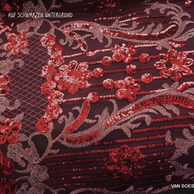 Couture Designer Spitze mit Ton in Ton mini Pailletten in Weinrot | Ansicht: Couture Designer Spitze mit Ton in Ton mini Pailletten in Weinrot