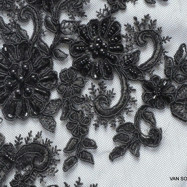 Couture beads and mini bars embroidered lace fabric in black