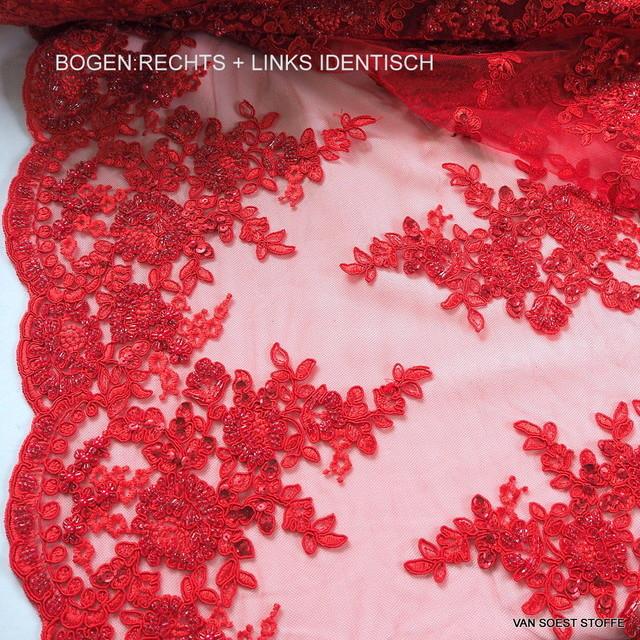 Couture Spitze mit Stäbchen, Perlen und Ton-in-Ton Pailletten bestickter Tüll in Rot | Ansicht: Couture Spitze mit Stäbchen, Perlen und Ton-in-Ton Pailletten bestickter Tüll in Rot