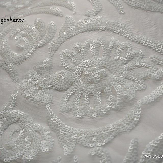 Couture lace with white - White mini sequins on white soft tulle.