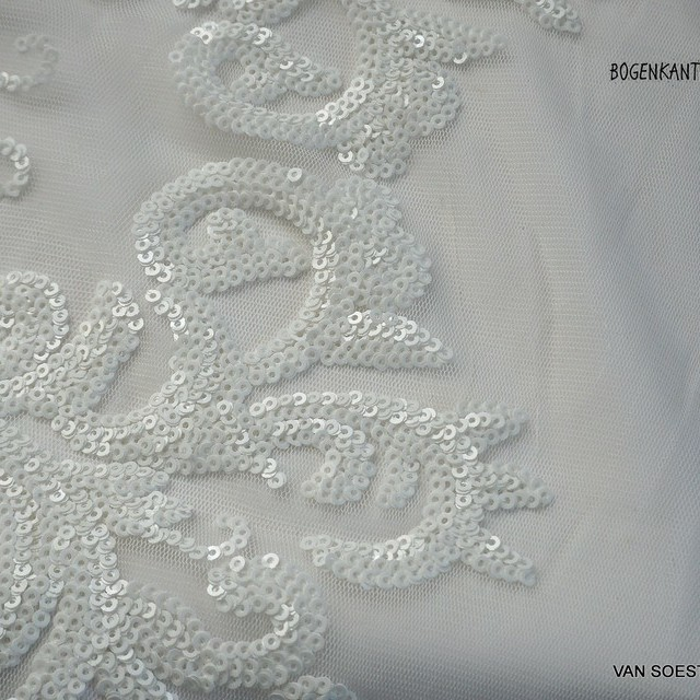 Couture lace with white - White mini sequins on white soft tulle. | View: Couture lace with white - White mini sequins on white soft tulle.