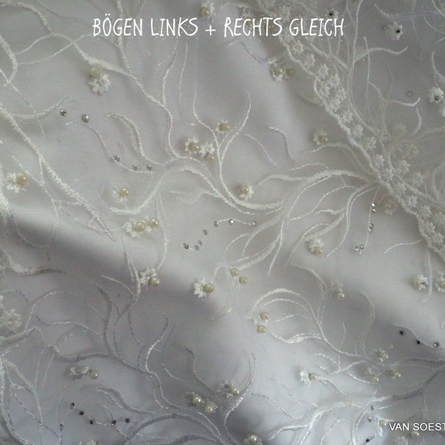 Cream colored floral lace + mini pearls + rhinestones on cream colored tulle | View: Cream colored floral lace + mini pearls + rhinestone on cream colored tulle
