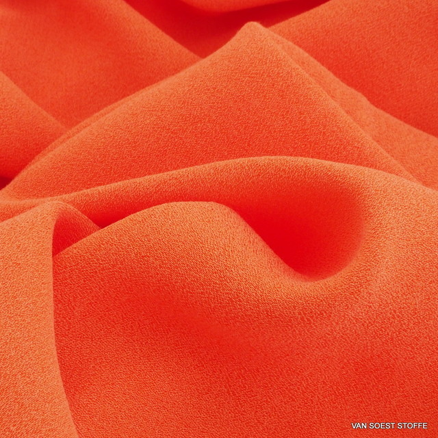 Cupro - Rayon Crepe de Chine in Orange | Ansicht: Cupro - Rayon Crepe de Chine in Orange