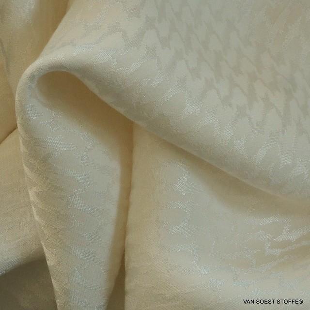 Cupro® - Rayon Hahnentritt in Creme Weiß