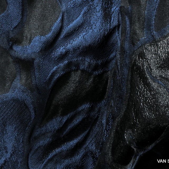 Dallas Couture Black Lamé Leaves Jacquard in Black - Blue - Black | View: Dallas Couture Black Lamé Leaves Jacquard in Black - Blue - Black