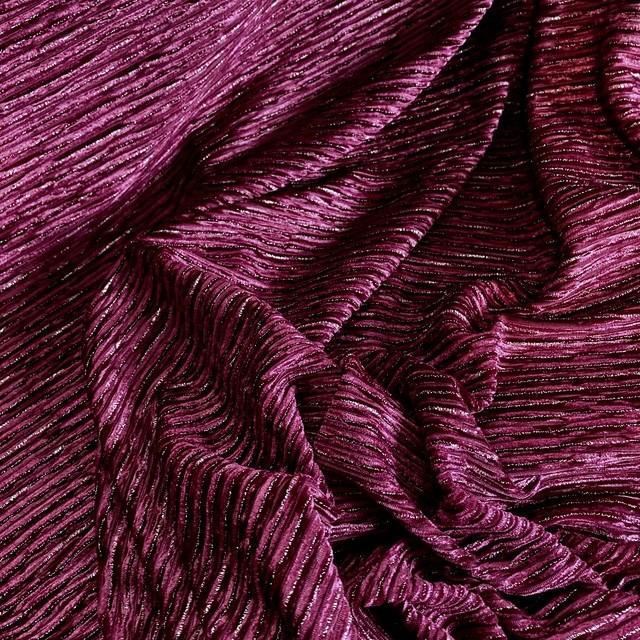 Designer stretch velvet pleated with silver lurex threads in fuchsia | View: Designer stretch velvet pleated with silver lurex threads in fuchsia