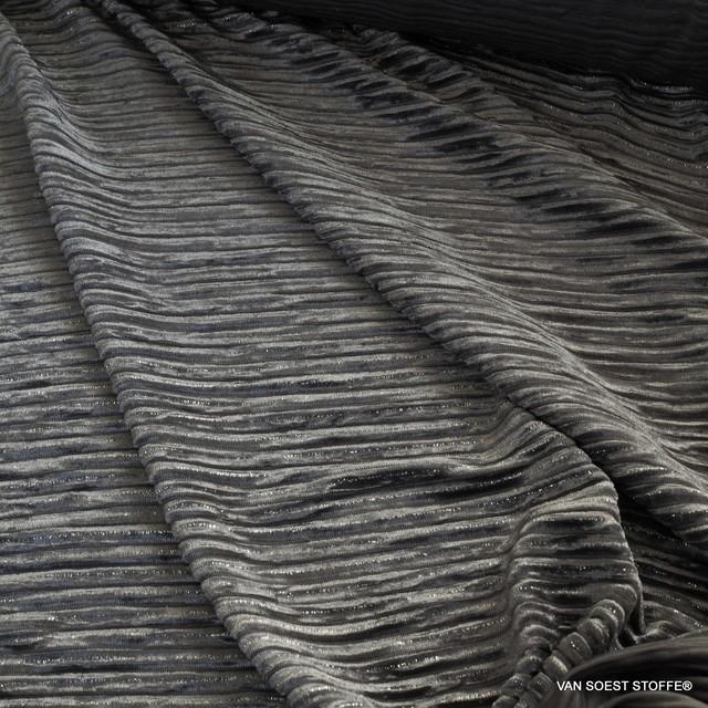 Designer stretch velvet plissee with silver lurex threads in silver grey | View: Designer stretch velvet plissee with silver lurex threads in silver grey