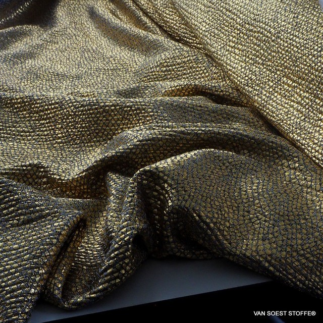 Dettato Stretch Gold Lamé auf Jersey Basis | Ansicht: Dettato Stretch Gold Lamé auf Jersey Basis