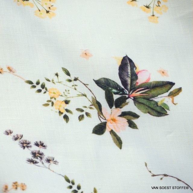 Exclusive linen fabric printed with delicate flowers & leaves | View: Exclusive linen fabric printed with delicate flowers & leaves
